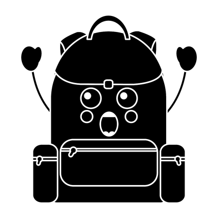 surprised backpack school supplies  icon image vector illustration design Illustration