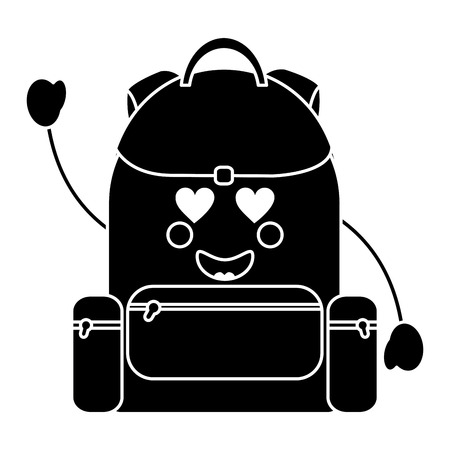 backpack heart eyes school supplies   icon image vector illustration design
