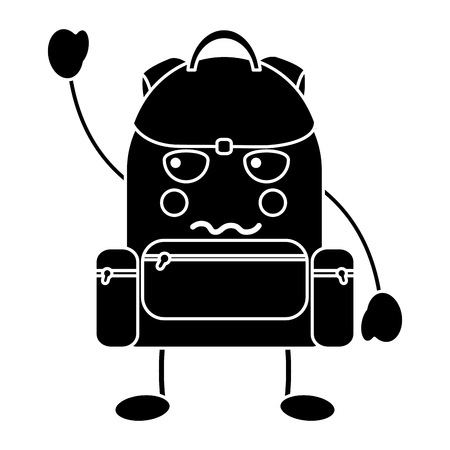 angry backpack school supplies icon image vector illustration design Stock fotó - 93533974