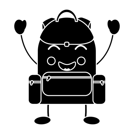 happy backpack school supplies   icon image vector illustration design Illustration