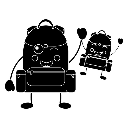 backpacks school supplies  kawaii icon image vector illustration design Illustration