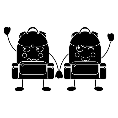 backpacks school supplies  kawaii icon image vector illustration design Ilustração