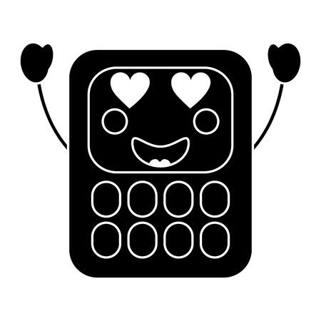 calculator  heart eyes school supplies  kawaii icon image vector illustration design