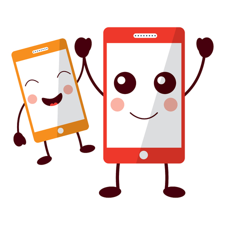 happy smartphone pair hand in hand cartoon vector illustration