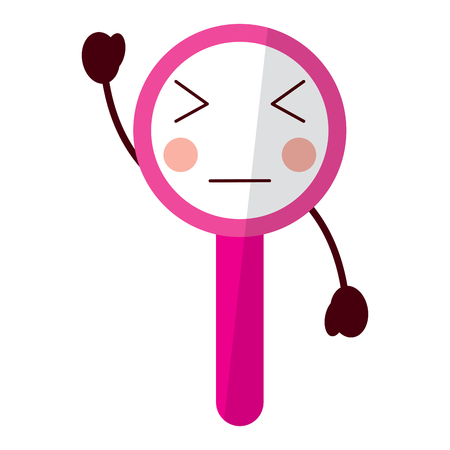 Kawaii cute funny magnifying glass vector illustration