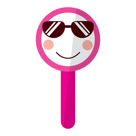 Kawaii  cute funny magnifying glass vector illustration Illustration