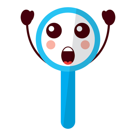 Kawaii  cute funny magnifying glass vector illustration Иллюстрация