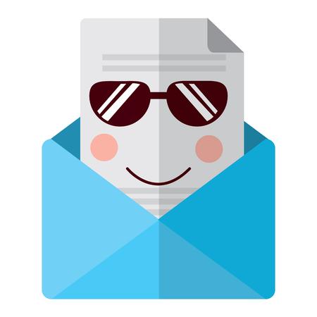이메일 봉투 편지 메시지 만화 벡터 일러스트 레이션 일러스트