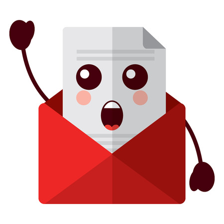 Kawaii 이메일 봉투 편지 메시지 만화 벡터 일러스트 레이션
