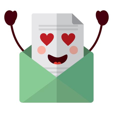 Kawaii email envelope letter message cartoon vector illustration 版權商用圖片 - 93488952