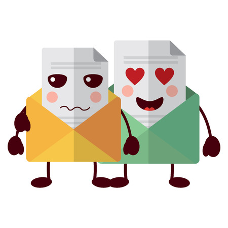 pair email envelope cartoon characters vector illustration