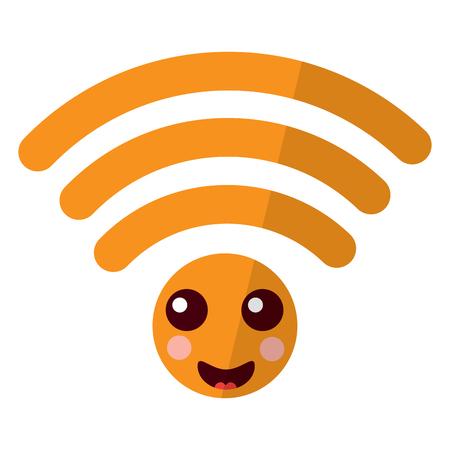 cartoon wifi internet signal character vector illustration