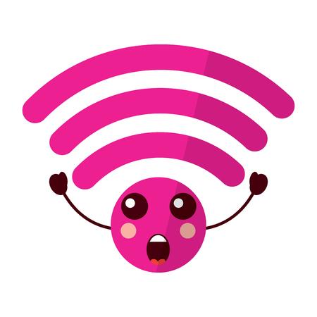 suprised wifi icon image vector illustration design