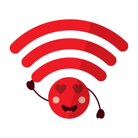 wifi heart eyes  icon image vector illustration design Illustration