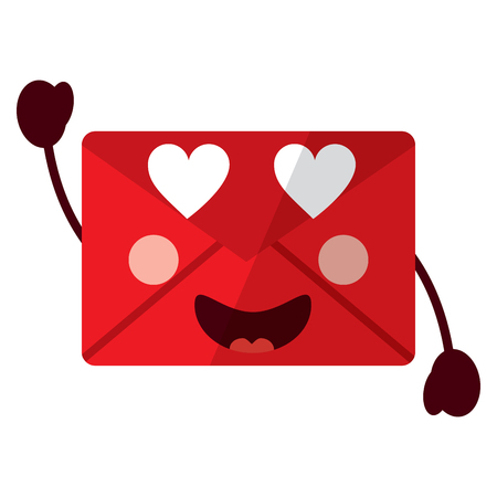 message envelope heart eyes icon image vector illustration design