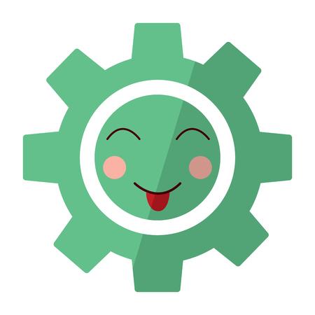 Happy gear kawaii icon image vector illustration design