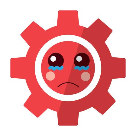 Sad gear kawaii icon image vector illustration design Фото со стока - 93487725