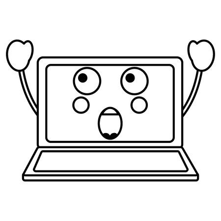 suprised laptop kawaii icon image vector illustration design