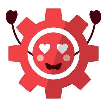 Gear heart eyes icon image vector illustration design