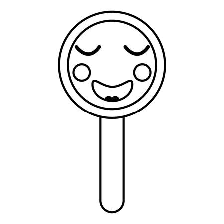 귀여운 재미 돋보기 벡터 일러스트 개요 디자인 스톡 콘텐츠 - 93533989