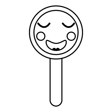 cute funny magnifying glass vector illustration outline design