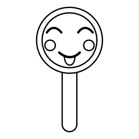 kawaii cute funny magnifying glass vector illustration outline design