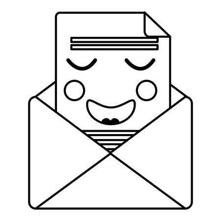 kawaii email envelope letter message cartoon vector illustration outline design