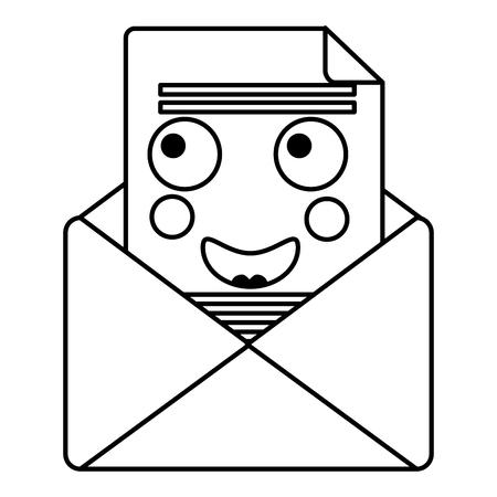 kawaii 이메일 봉투 편지 메시지 만화 벡터 일러스트 개요 디자인 일러스트