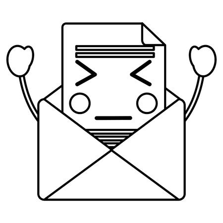 可愛いメール封筒メッセージ漫画ベクトルイラストアウトラインデザイン
