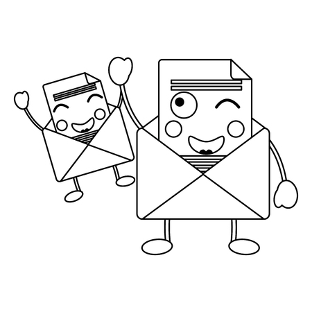 Kawaii pair email envelope cartoon characters vector illustration outline design