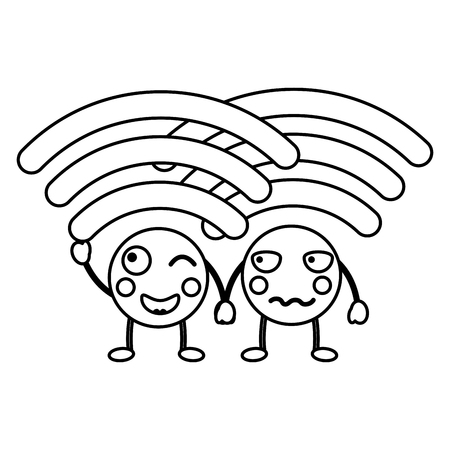 Cartoon wifi internet signal kawaii character vector illustration outline design