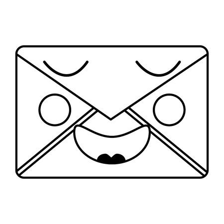 Mail envelope kawaii character smiling vector illustration outline design