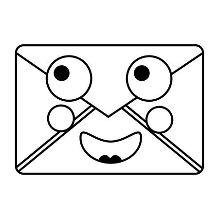 Mail envelope kawaii character cartoon vector illustration outline design