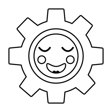gear machinery piece cute cartoon vector illustration outline design