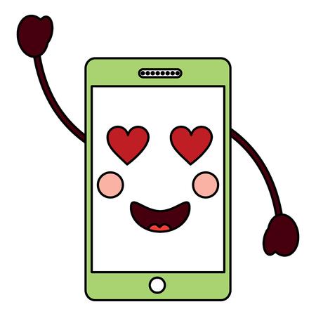 핸드폰 하트 아이 아이콘 이미지 벡터 일러스트 디자인
