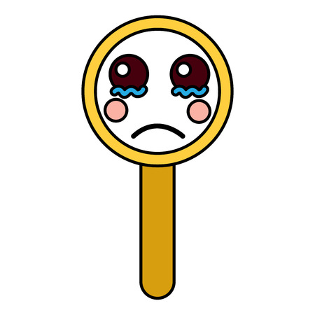 sad magnifying glass icon image vector illustration design