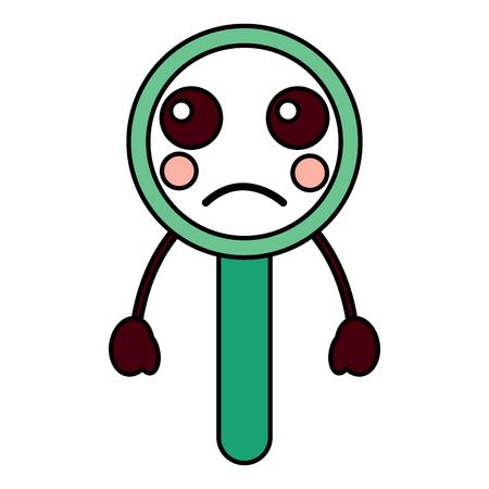 Sad magnifying glass kawaii icon image vector illustration design