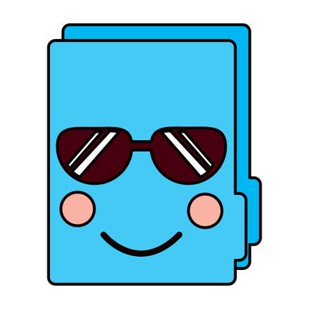 File folder with sunglasses kawaii icon image vector illustration design Illusztráció