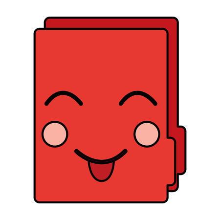 Happy file folder kawaii icon image vector illustration design Illusztráció