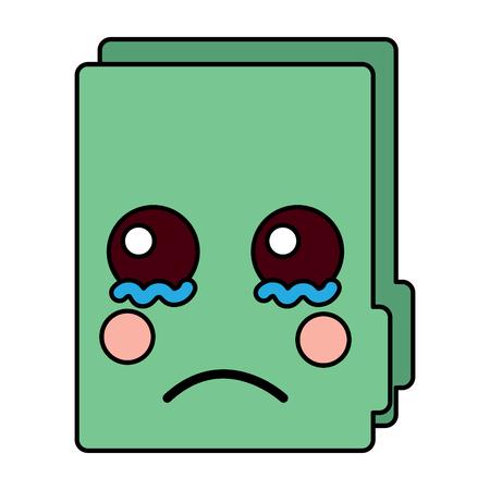 Sad file folder kawaii icon image vector illustration design Illustration