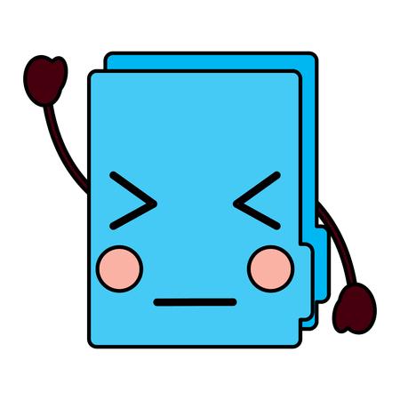 Angry file folder kawaii icon image vector illustration design
