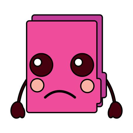 Sad file folder kawaii icon image vector illustration design Illusztráció