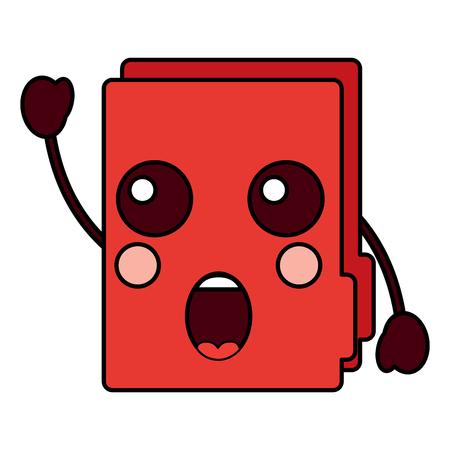 Suprised file folder kawaii icon image vector illustration design