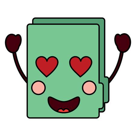 file folder heart eyes kawaii icon image vector illustration design
