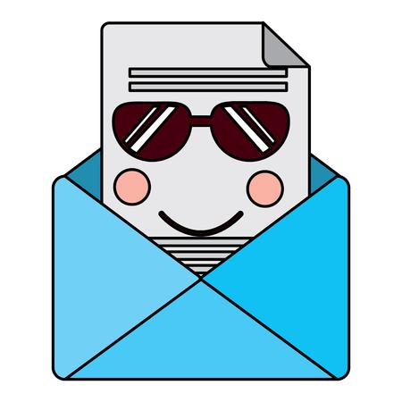 선글라스와 메시지 봉투 가와이 아이콘 이미지 벡터 일러스트 레이 션 디자인
