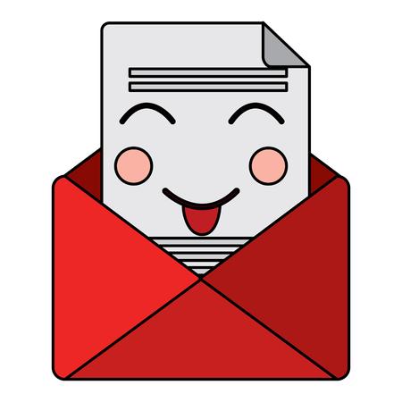 행복 한 메시지 봉투 kawaii 아이콘 이미지 벡터 일러스트 레이 션 디자인.