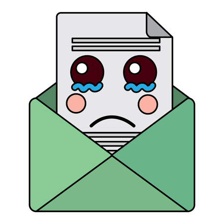 Sad message envelope kawaii icon image vector illustration design.