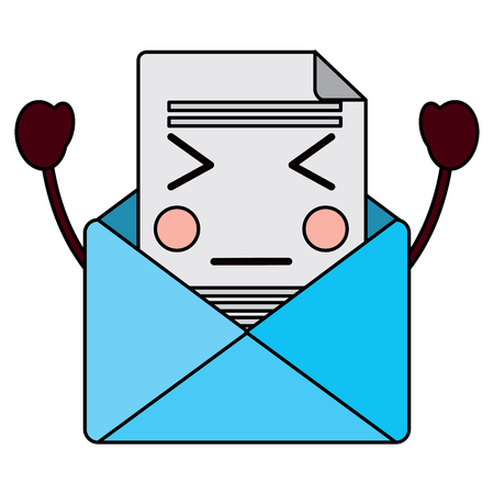 Kawaii e-mail envelop brief bericht cartoon vectorillustratie.