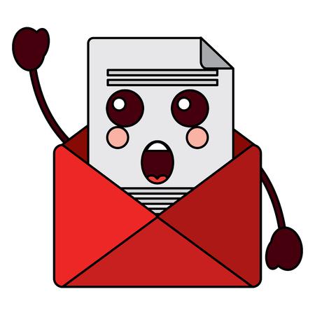 Kawaii 전자 메일 봉투 편지 메시지 만화 벡터 일러스트 레이 션.