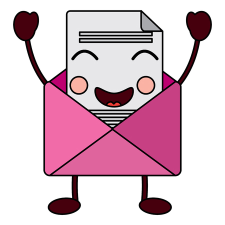 Cute email envelope letter message. Cartoon vector illustration.
